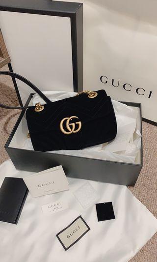 Authentic Gucci Marmont velvet mini bag