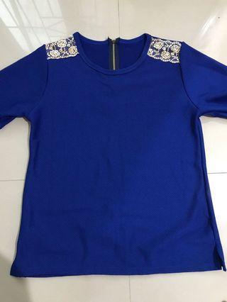 blouse biru bahan kaos tebal