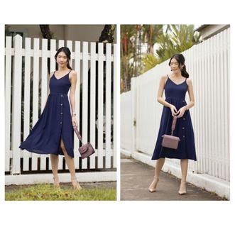 LeChic Slip Button Midi Dress
