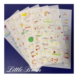 🚚 1 Set/ 6 Sheets Adorable Sticker/ Little Bean