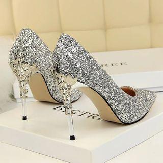 🚚 Silver Glitter Heels