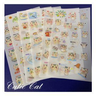 1 Set/ 6 Sheets Adorable Sticker/ Cutie Cat