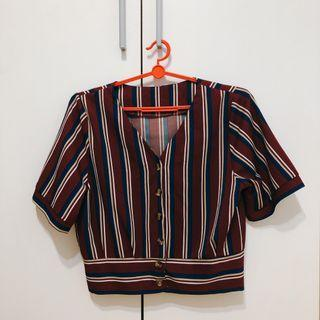 🚚 Ulzzang Red Stripes Top