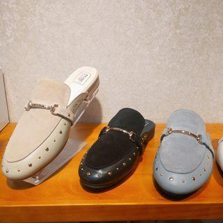 中大尺碼女鞋 真皮鉚釘金屬馬銜扣穆勒鞋/休閒鞋 40-45碼 172巷鞋舖