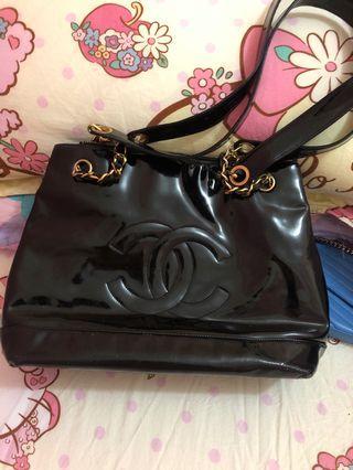 Chanel vintage漆皮手袋 真品