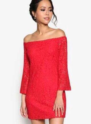 ZALORA Lace Off Shoulder Dress - Red