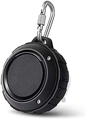 Portable Outdoor Bluetooth Speaker,Lenrue Wireless Shower Waterproof Speakers Rechargable Stereo,with Hook,Built-in Mic for iPhone/IPad/Andriod/Samsung/Tablet/Echo dot (Black)