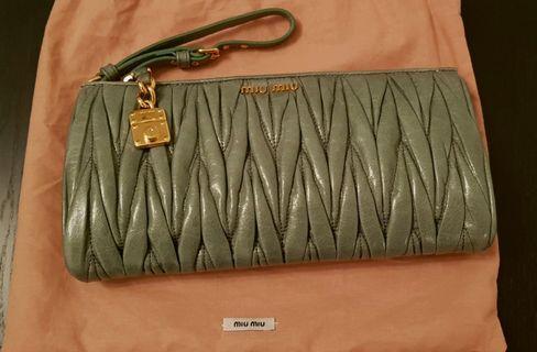 Miu Miu Nappa Clutch Bag in Green (adjustable wrist strap)