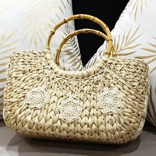 Top-handle Straw Bag with Cane Handles