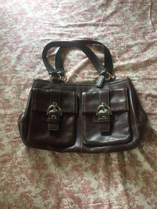 COACH (chocolate brown leather bag)
