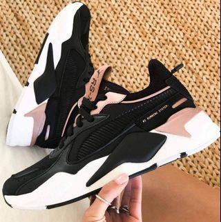歐美代購~《23.5cm 》~PUMA  RS-X 黑色 x 玫瑰粉 絕美老爹鞋