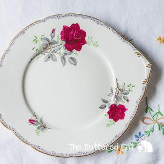 Vintage English bone china cake plate, red rose decor