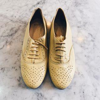 Brand New Yellow Perforated Leather Oxford Lace up Topshop Womens Shoes Flats Dandy