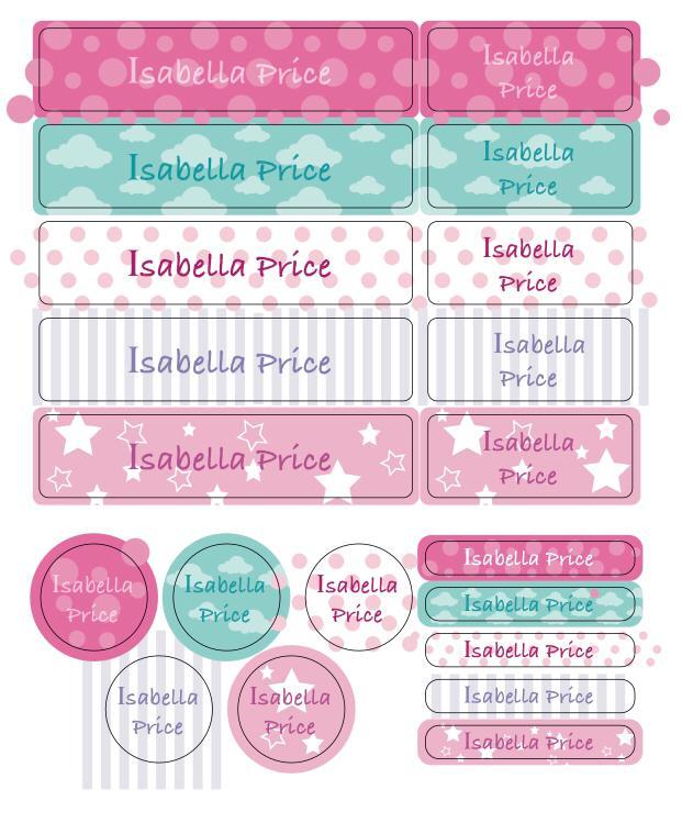 20 Assorted premium waterproof essential Name labels