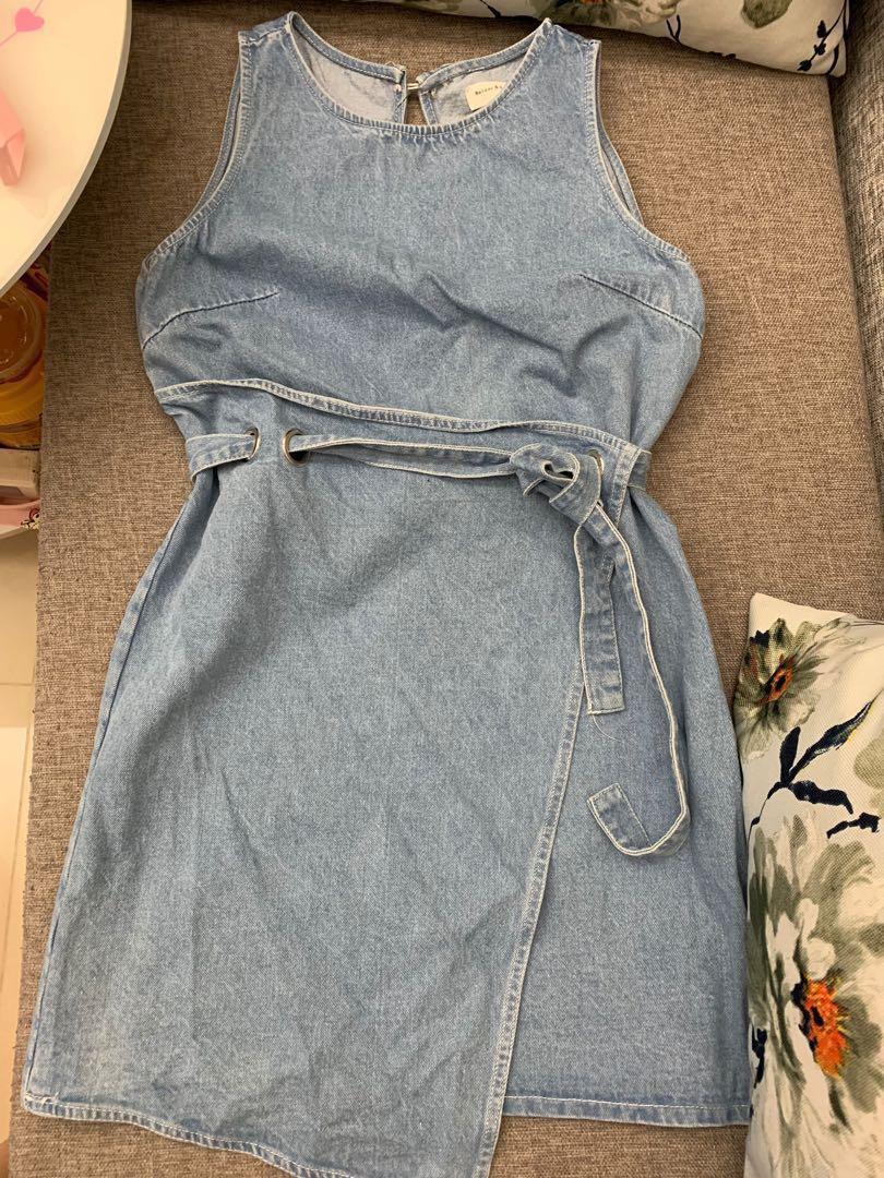 韓國藍色連身裙