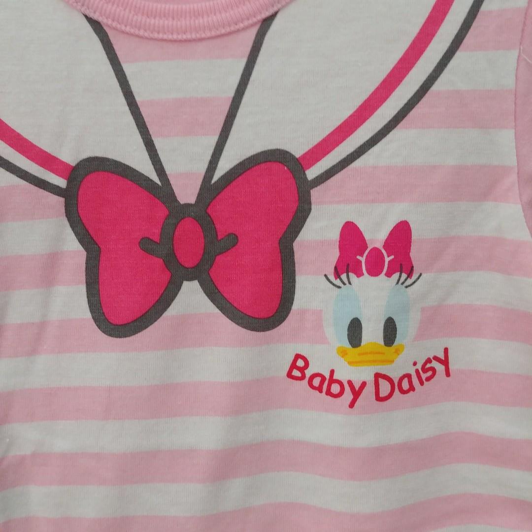 📢限時優惠 (73/80CM) Donald duck 唐老鴨 Daisy Duck 出口歐洲 男女BB嬰兒短袖純棉短袖連身夾衣 龍鳳胎服裝 全新 迪士尼Disney baby