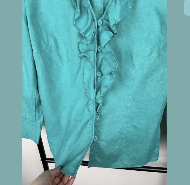 Anthea Crawford Collection 10 Linen green bluish aqua top shirt blouse designer