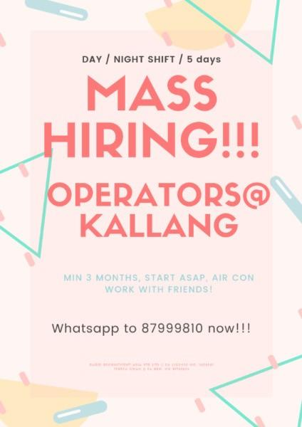 Assembly Operators @ Kallang ($80-95/day, Start ASAP!!!)