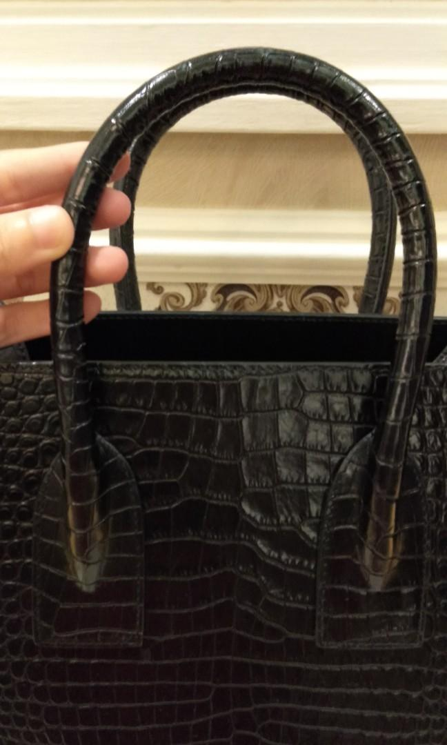 Authentic YSL Bag Croco Black Medium Size