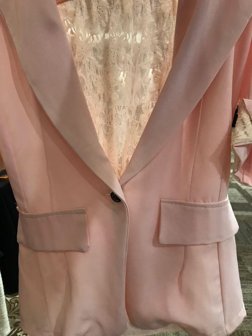 Baby pink lace blazer