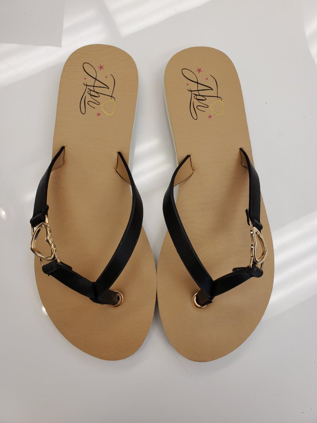 Black Leather Flip Flops, New in Box, Tan Lines in the Shape of a Heart