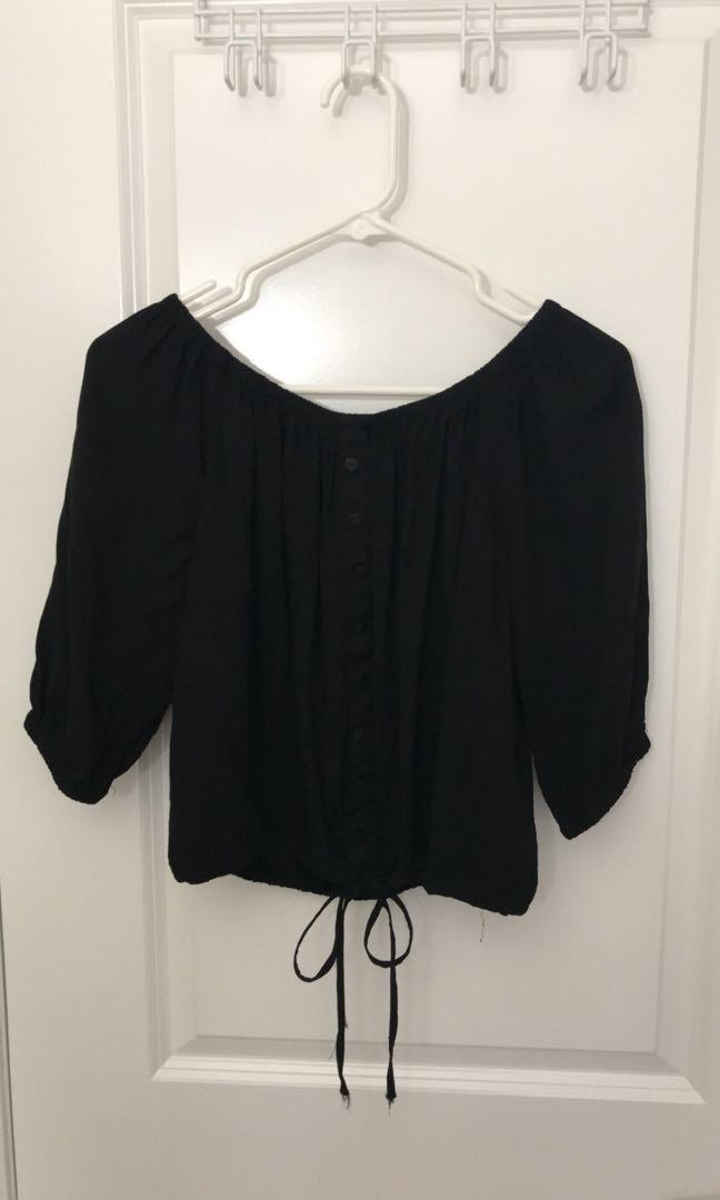 black off the shoulder button up top