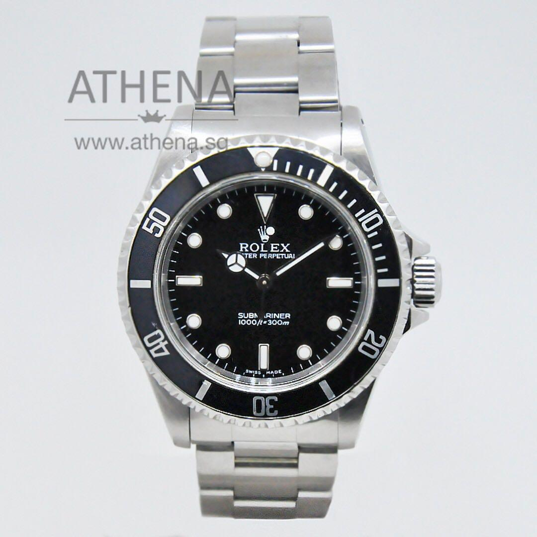 """COLLECTIBLE TIMEPIECE !!! ROLEX OYSTER PERPETUAL SUBMARINER """"NO-DATE"""" """"P"""" SERIES """"TWO LINER DIAL"""" """"FLAT 4 BEZEL"""" 14060M WLWRL_1111"""