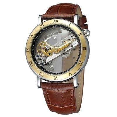 Forsining Transparent Brown Leather Strap Mens Automatic Skeleton Wrist Watch  We