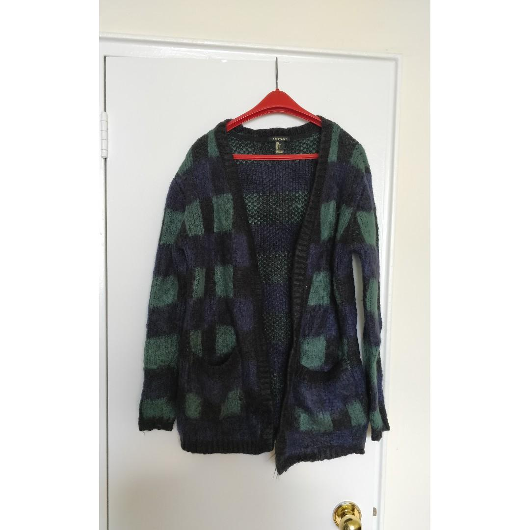 Forever 21 Fuzzy Cardigan, Checkered Pattern Size S