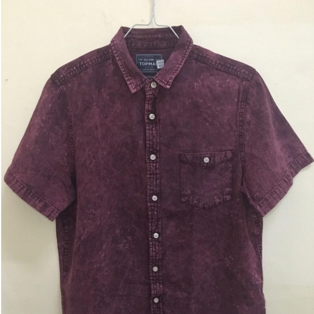 Kemeja TOPMAN Red Denim Stone Wash Original 100%