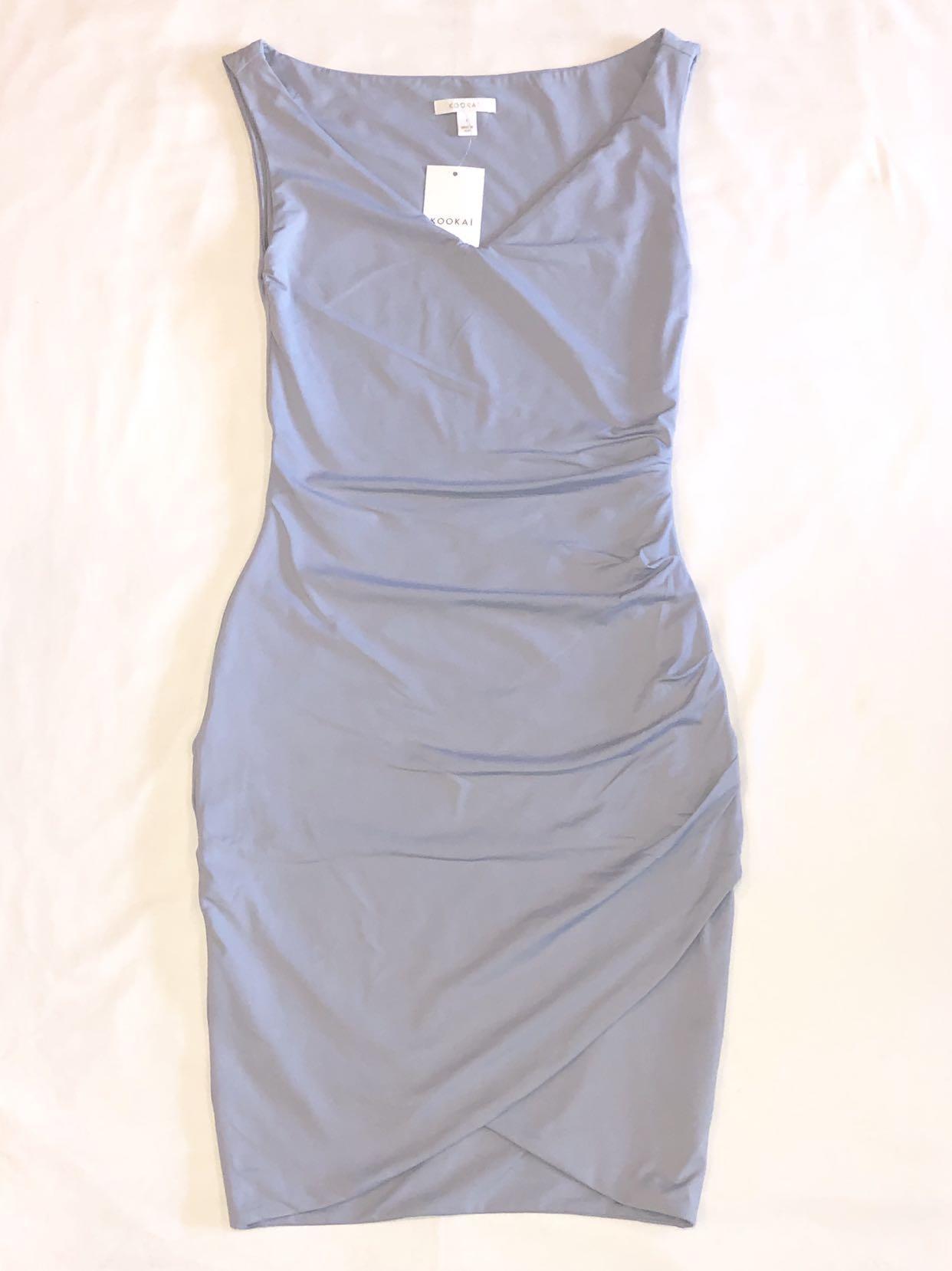 Kookai Aschem Wrap Dress in Moon Grey, Size 1. RRP $120