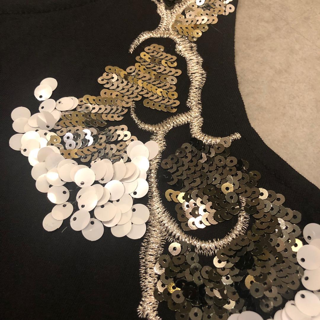 Korea bling bling stylish black sleeveless top 黑色珠片上衣衫