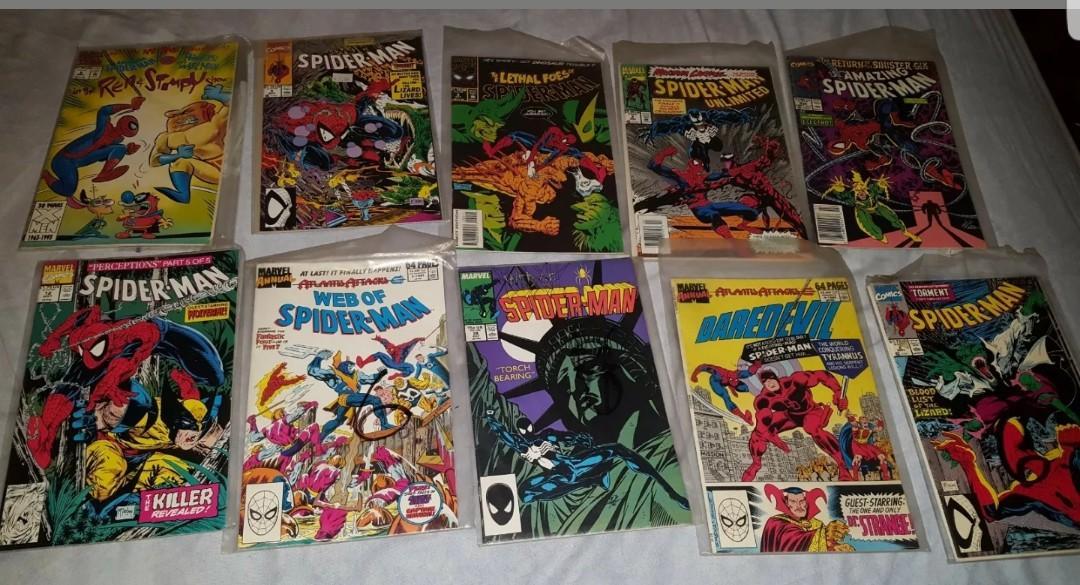 Lot of 10 Classic Spider Man Comic Books Web of Spiderman Unlimited Amazing etc