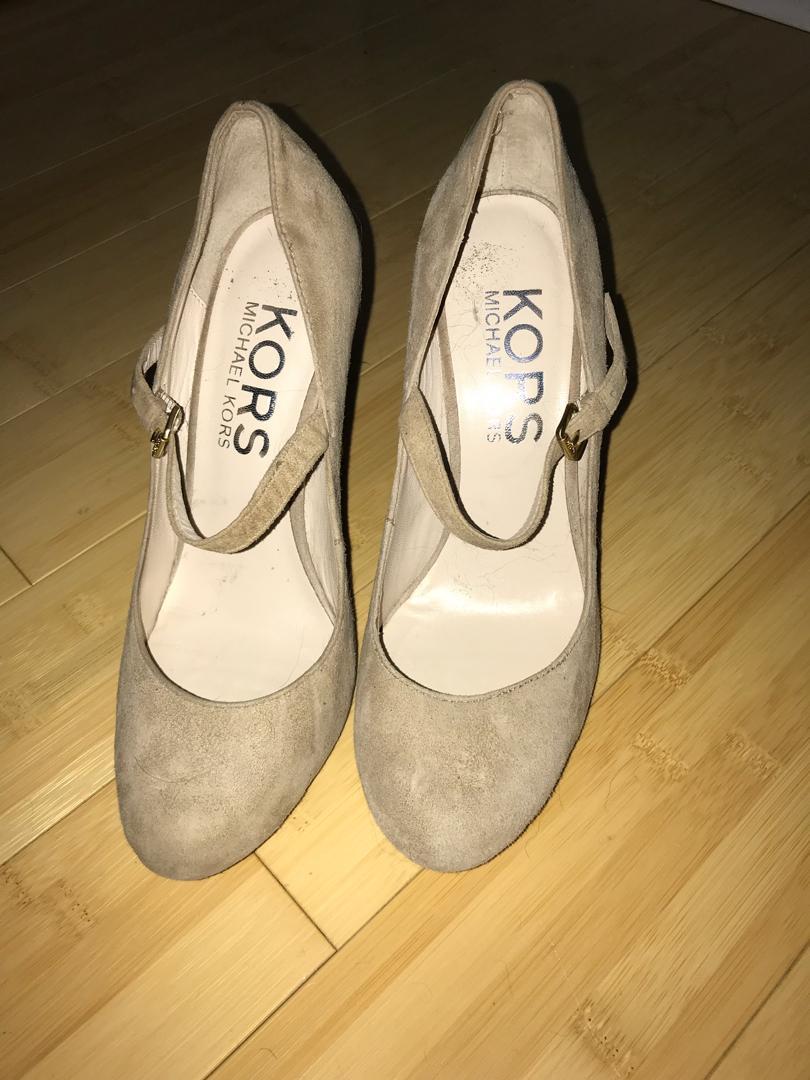 Michael Kors size 7 nude suede heels worn once
