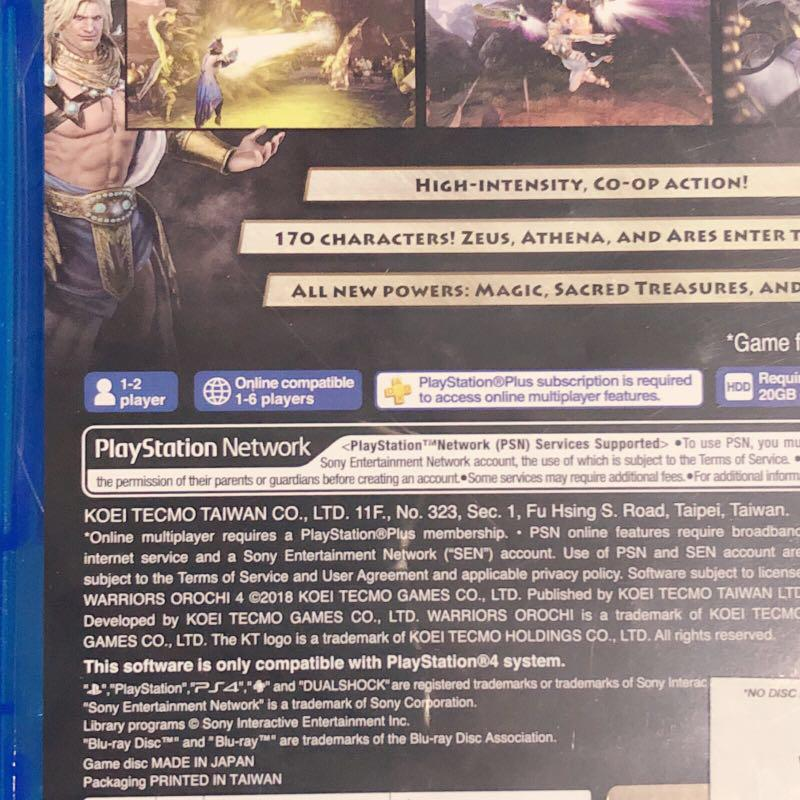 PS4 Games Warriors Orochi 4 Used Subtitle Eng Voice Japanese