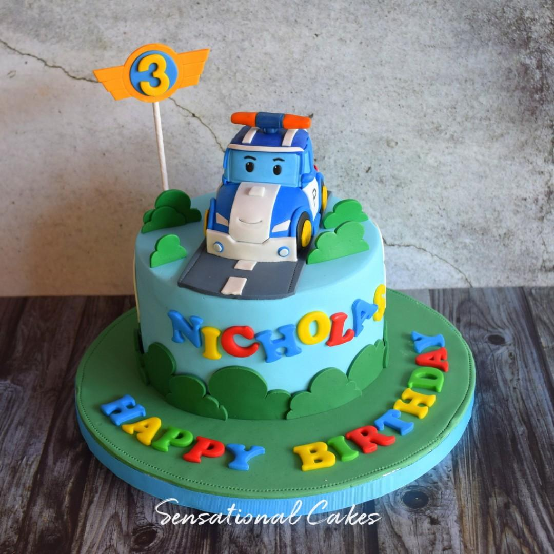 Miraculous Robo Police Car 3D Children Boy Theme 3D Customized Cake Personalised Birthday Cards Sponlily Jamesorg
