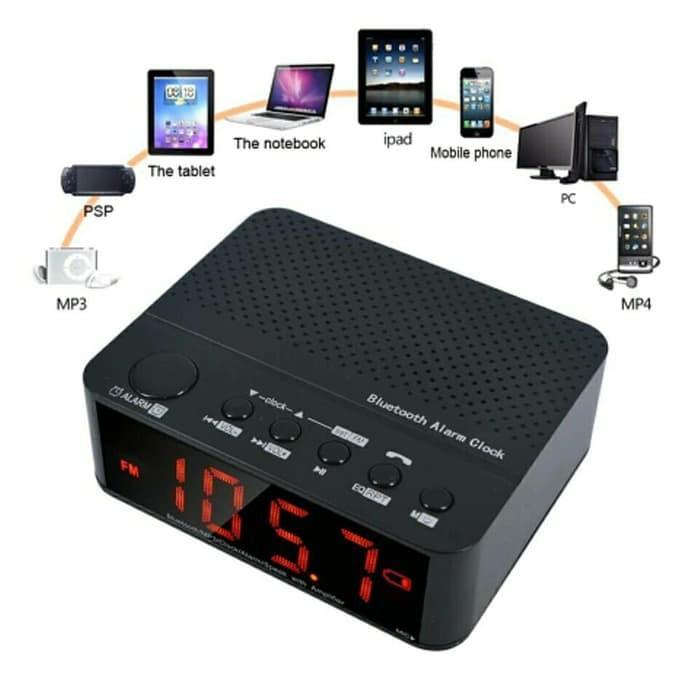 Speaker Mini Bluetooth + Radio FM + Alarm Jam Meja digital Wireless
