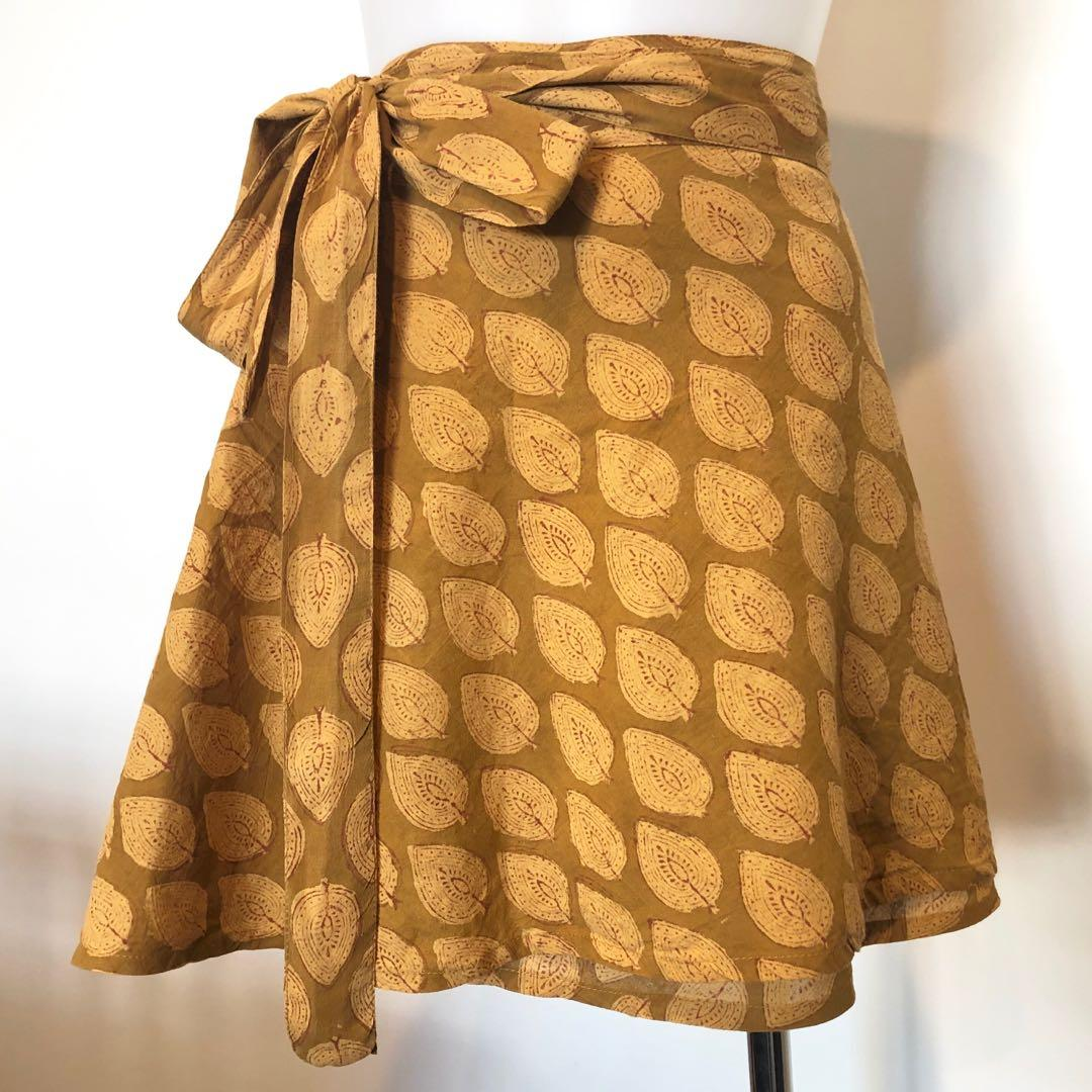Tree Of Life Pony Wrap Skirt In Mustard Print, Free Size