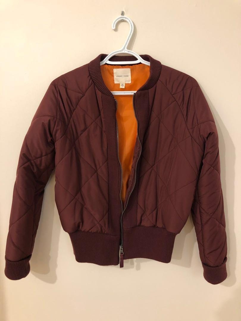 Urban outfitters silence and noise maroon puffy bomber jacket