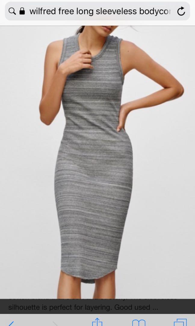 Wilfred free grey sleeveless long body-con dress (XS)