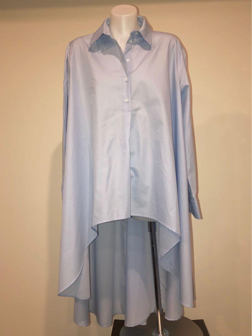 ZARA High Low Hem Oversized Cotton Blouse. RRP $89.95