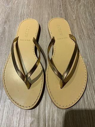 J crew sandals gold leather strap stitched sandal