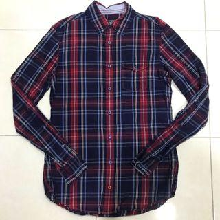 Pull & Bear Blue Red Checked Long Sleeves Shirt
