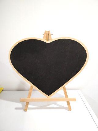 Blackboard Heart Wooden Easel