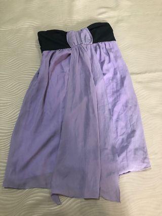 Agneselle colorblock pastel purple x black tube dress
