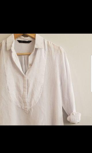 Zara soft pin strip blouse