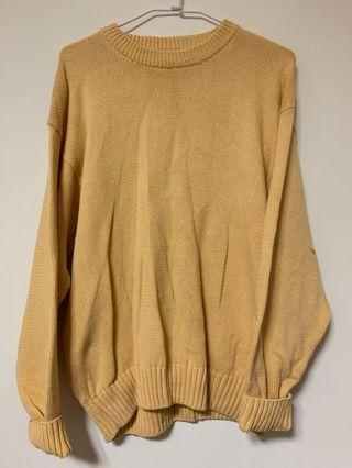 黃色中長版毛衣