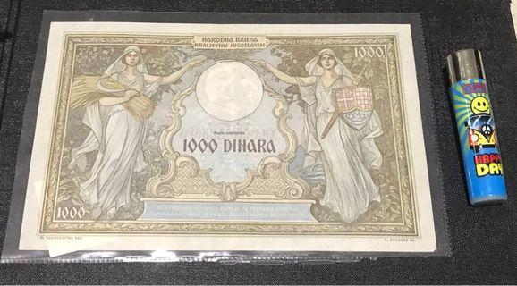 🚚 Banknote Yugoslavia 1000 Dinara 1931 - Queen Marie MUST COLLECTABLE ITEMS NOTE CURRENCY
