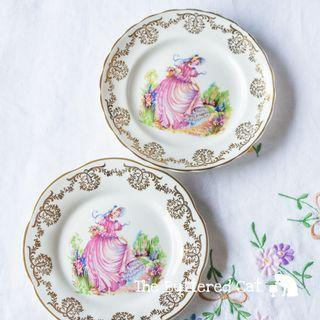 Pretty vintage English ' Pinkie ' crinoline lady tea plates