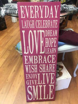 Canvas frame with positive wordings